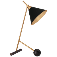 Cleo Table Lamp in Bronze and Antique-Burnished Brass with Black Shade