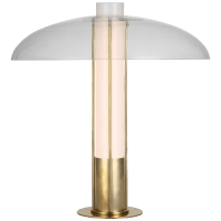Troye Medium Table Lamp in Antique-Burnished Brass with Clear Glass