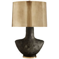 Armato Small Table Lamp in Stained Black Metallic Ceramic with Oval Antique-Burnished Brass Shade