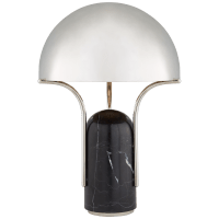 Affinity Medium Dome Table Lamp in Black Marble with Polished Nickel Shade