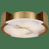Melange Large Flush Mount in Antique-Burnished Brass with Alabaster