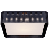Precision Large Square Flush Mount in Bronze with Clouded Glass