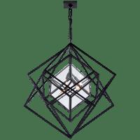 Cubist Medium Chandelier in Aged Iron