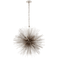 Strada Medium Round Chandelier in Burnished Silver Leaf