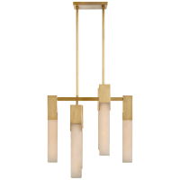 Covet Small Chandelier in Antique-Burnished Brass with Alabaster