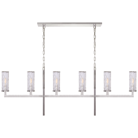 Liaison Large Linear Chandelier in Polished Nickel with Crackle Glass
