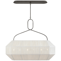 Forza Medium Linear Lantern in Bronze with Gathered Linen Shade