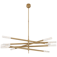 Rousseau Grande Ten Light Articulating Chandelier in Antique-Burnished Brass with Seeded Glass