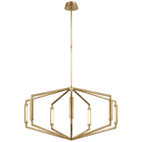 """Appareil 40"""" Low Profile Chandelier in Antique-Burnished Brass"""