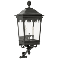 Rosedale Grand Medium Bracketed Wall Lantern in French Rust with Clear Glass