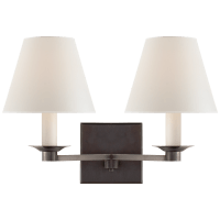 Evans Double Arm Sconce in Bronze with Percale Shade