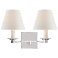 Evans Double Arm Sconce in Polished Nickel with Percale Shade