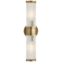 Allen Double Light Sconce in Natural Brass and Glass Rods