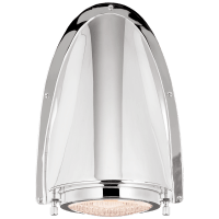 Grant Large Sconce in Polished Nickel with Industrial Prismatic Glass