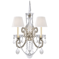 Adrianna Double Sconce in Antique Silver Leaf and Crystal with Silk Shades
