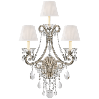 Adrianna Triple Sconce in Antique Silver Leaf and Crystal with Silk Shades