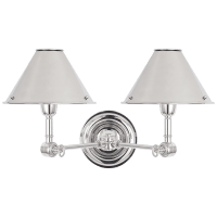 Anette Double Sconce in Polished Nickel