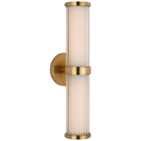 Ranier Double Bath Light in Natural Brass with Clear Glass Rods