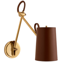 Benton Double Library Sconce in Natural Brass with Saddle Leather Shade