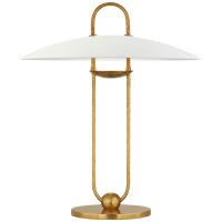 Cara Sculpted Table Lamp in Natural Brass with Plaster White Shade