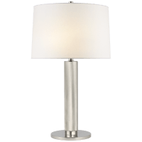 Barrett Medium Knurled Table Lamp in Polished Nickel with Linen Shade