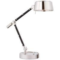 Alaster Task Lamp in Polished Nickel and Black Ebony