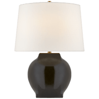 Ilona Medium Table Lamp in Black with Linen shade