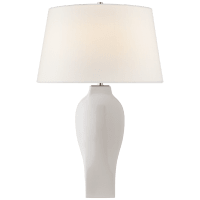 Ilona Large Table Lamp in White with Linen shade