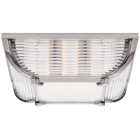 Perry Large Flush Mount in Polished Nickel and Glass Rods with White Glass