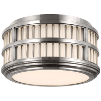 """Perren 12"""" Flush Mount in Polished Nickel and Glass Rods"""