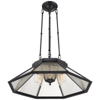 Rivington Medium Eight-Paneled Chandelier in Bronze with Clear Ribbed Glass