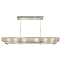 Perry Medium Linear Pendant in Polished Nickel and Glass Rods with White Glass