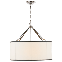 Broomfield Large Hanging Shade in Polished Nickel and Chocolate Leather with Linen Shade