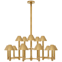 Barrett Large Knurled Chandelier in Natural Brass with Natural Brass Shades