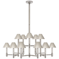 Barrett Large Knurled Chandelier in Polished Nickel with Polished Nickel Shades