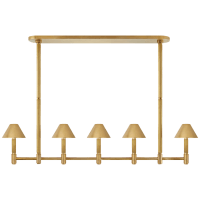 Barrett Large Knurled Linear Chandelier in Natural Brass with Natural Brass Shades