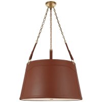 Karlie Large Hanging Shade in Natural Brass with Saddle Leather and Acrylic Diffuser