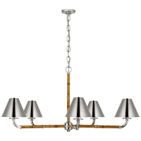 Dalfern Large Chandelier in Waxed Bamboo and Polished Nickel  with Polished Nickel Shades