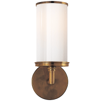 Cylinder Sconce in Hand-Rubbed Antique Brass with White Glass
