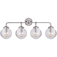 Bistro Four Light Bath Sconce in Polished Nickel with Clear Glass