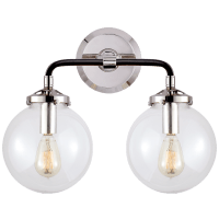 Bistro Double Light Curved Sconce in Polished Nickel and Black with Clear Glass