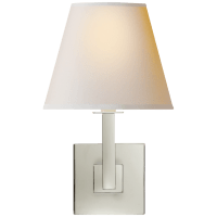 Architectural Wall Sconce in Polished Nickel with Natural Paper Shade