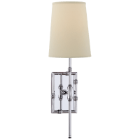 Grenol Single Modern Bamboo Sconce in Polished Nickel with Natural Percale Shade