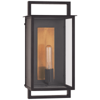 Halle Medium Wall Lantern in Aged Iron with Clear Glass
