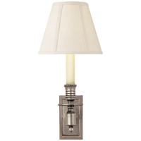 French Single Library Sconce in Antique Nickel with Linen Shade