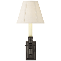 French Single Library Sconce in Bronze with Linen Shade