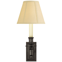 French Single Library Sconce in Bronze with Tissue Shade