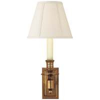 French Single Library Sconce in Hand-Rubbed Antique Brass with Linen Shade
