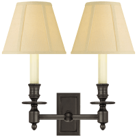 French Double Library Sconce in Bronze with Tissue Shades