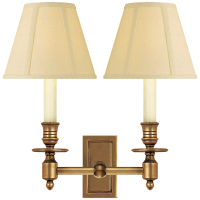 French Double Library Sconce in Hand-Rubbed Antique Brass with Tissue Shades